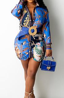 Blue Positioning Print Long Sleeve Lapel Neck Single-Breaster Shirt Dress E8610-3