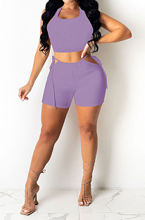 Purple Pure Color Tank Waist Bandage Hole Shorts Sets AYQ0508-2