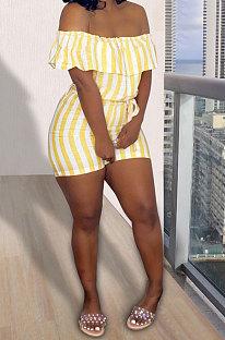 Yellow Euramerican Women Sexy Falbala A Word Shoulder Strap Printing Romper Shorts AYQ05013-1