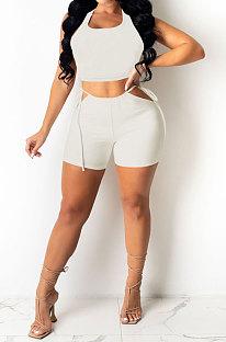 White Pure Color Tank Waist Bandage Hole Shorts Sets AYQ0508-1