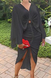 Black Hollow Out  V Collar Batwing Sleeve Zipper Drawsting Dress JC7067-2
