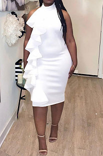 White Women Tight Solid Color Hip Evening Dress Halter Neck Backless Plus Midi Dress AWL5898