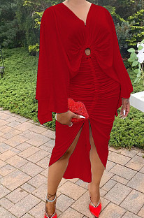 Red  Hollow Out  V Collar Batwing Sleeve Zipper Drawsting Dress JC7067-3