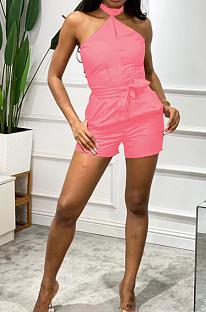 Pink Night Club Halter Neck Strapless Belt Solid Color Romper Shorts ZNN9085-2