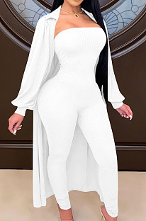 White Autumn And Winter Long Sleeve Coat Strapless Solid Colur Bodycon Jumpsuits Two Piece E8508-1
