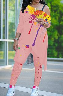 Pink Splash-Ink Print Oblique Shoulder Long Sleeve Carrot Pants Sports Two-Piece LY049-1