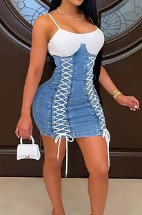 Blue Fashin Spliced Eyelet Bandage Condole Belt Tank Jean Hip Dress JLX3502