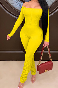 Yellow Sexy Long Sleeve A Word Shoulder Solid Color Bodycon Jumpsuits E8511-1