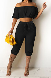 Black Euramerican Women Sexy Off Shoulder Dew Belly Blouse Pure Color Cropped Pants Sets AYQ0510-3