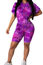 Purple Cute Stars Printing Collect Waist Round Neck Short Sleeve Tight Shorts Two-Piece HMR6020-1