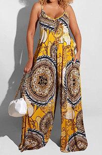 Yellow Big Size Women Sexy Pattern Printing Condole Belt  Plus Jumpsuit DLY80268-1