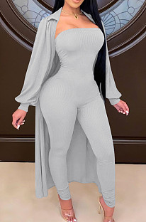 Grey Autumn And Winter Long Sleeve Coat Strapless Solid Colur Bodycon Jumpsuits Two Piece E8508-5