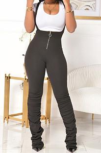 Pink Summer Cotton Blend Pure Color Tight Zipper Ruffle Suspender Trousers E8528-6