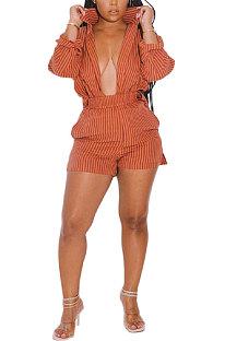 Orange Women Long Sleeve Strap Printing Shirt Shorts Sets AD0705-1