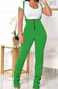 Green Summer Cotton Blend Pure Color Tight Zipper Ruffle Suspender Trousers E8528-5