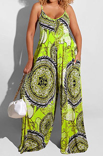 Grass Green Big Size Women Sexy Pattern Printing Condole Belt  Plus Jumpsuit DLY80268-2