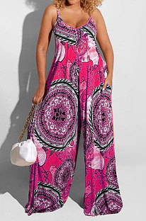 Rose Red Big Size Women Sexy Pattern Printing Condole Belt  Plus Jumpsuit DLY80268-3
