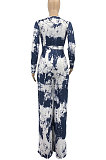 Blue Women Printing With Waistband Long Sleeve Bodycon Casual Jumpsuits AD0706-1