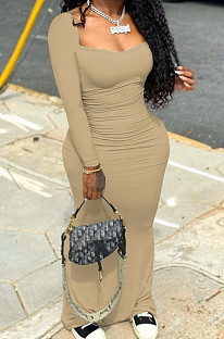 Khaki Elastic Solid Color Square Neck Long Sleeve Ruffle Bodycon Dress YYF8237-1