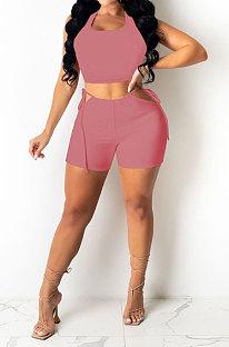 Pink Red Pure Color Tank Waist Bandage Hole Shorts Sets AYQ0508-3