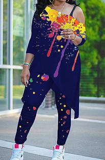 Dark Blue Splash-Ink Print Oblique Shoulder Long Sleeve Carrot Pants Sports Two-Piece LY049-5