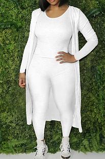 White Cotton Blend Tank Cardigan Long Pants Elastic Three Piece YYF8236-1