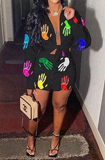 Black Women Casual Printing Shirt Buttons Long Sleeve Skirts Sets MR2105-3