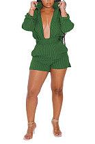 Green Women Long Sleeve Strap Printing Shirt Shorts Sets AD0705-3
