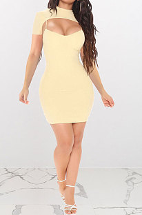 Apricot Women Sexy Solid Color Condole Belt Dress Smock Two-Pieces Q776-1
