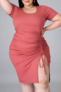 Watermelon Red Plus Size Ribber Short Sleeve Round Collar Drawsting Midi Dress QZ5288-3