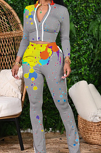 Grey Cotton Blend Splash-Ink Printing Long Sleeve Stand Collar Zipper Long Pants Sports Sets ZQ9219-1