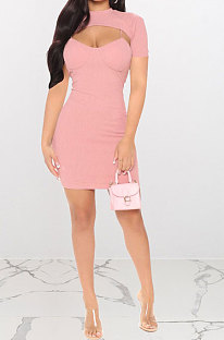 Pink Women Sexy Solid Color Condole Belt Dress Smock Two-Pieces Q776-2