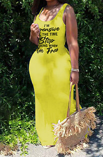 Yellow Sexy Women Sleeveless Letters Printing Condole Belt Plus Long Dress DLY8022-3