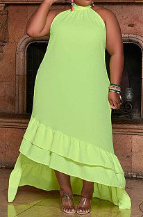 Light Green Sexy Women Bevel Edge Solid Color Sleeveless Fashion Plus Long Dress DLY80308-2