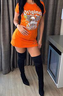 Orange Fashion Printing Short Sleeve Hole Mini Dress XMS613
