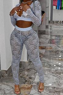 Gray White Women Sexy Lace Long Sleeve V Neck Long Pants Sets Q771-4