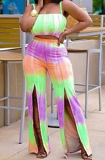 Multicolor Women Tie Dye Gradient Sexy Split Pants Sets XMS9148