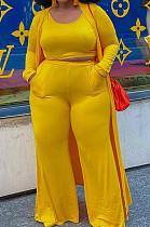 Yellow Plus Size Solid Colur Casual U Neck Tank Wide Leg Pants Long Sleeve Coat Three Piece QSS51030-5