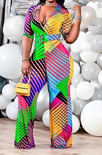 Colorful Printing Plus Size Lapel Neck V Collar Three Quarter Sleeve Slim Fitting Wide Leg Jumpsuits QSS51031