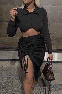 Black New Snap Fastenet Long Sleeve Lapel Collar Dew Waist Shirt Ruffle Drawsting Skirts Two-Piece MN8378-1