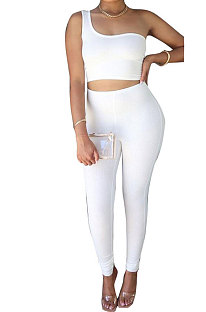White Sexy Oblique Shoulder Pure Color Ribber Pants Sets XMS9171-2