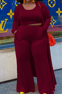 Wine Red Plus Size Solid Colur Casual U Neck Tank Wide Leg Pants Long Sleeve Coat Three Piece QSS51030-3