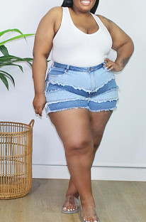 Blue Plus Size Tiered Spliced Casual Buttoned Jean Shorts QZ5289-1