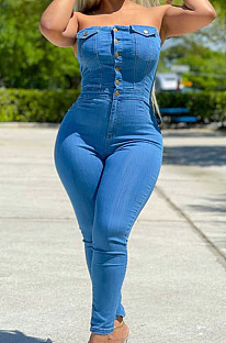 Light Blue Modest Sexy Strapless Women Slim Fitting Jean Bodycon Jumpsuits JLX6061-2