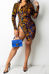 Brown Fashion Sexy High Waist Round Neck Women Printing Long Sleeve Zipper Mini Dress NYP1012