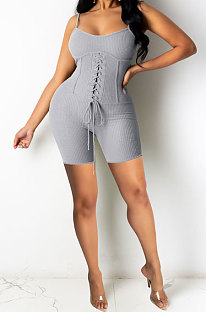 Gray Euramerican Women Pure Color Condole Belt Eyelet Bandage Sexy Romper Shorts Q774-4