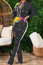 Black Cotton Blend Splash-Ink Printing Long Sleeve Stand Collar Zipper Long Pants Sports Sets ZQ9219-2