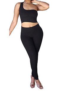 Black Sexy Oblique Shoulder Pure Color Ribber Pants Sets XMS9171-3