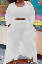 White Plus Size Solid Colur Casual U Neck Tank Wide Leg Pants Long Sleeve Coat Three Piece QSS51030-2