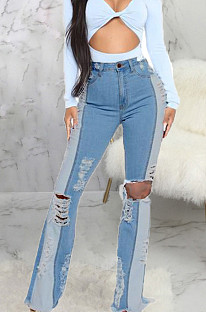 Light Blue Fashion Spliced Hole Water Washing Elastic Slim Fitting Jean Flare Pants SMR2551